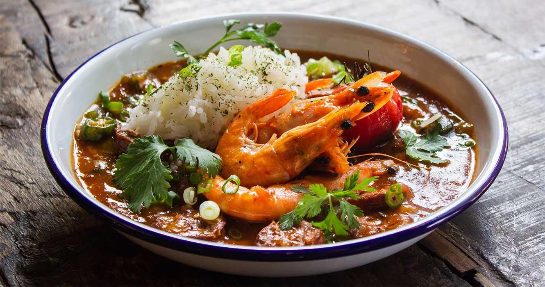 Grillede reker med ris i saus